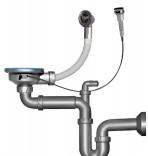 Сифон-автомат для двойной мойки NOVA 1199,070N (с выпуском 3 1/2 мм, прямоточный, отвод, выход 40 мм)