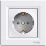 Schneider Electric Розетка Schneider Asfora с з/к белая + шторка (EPH2900221)
