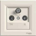 Розетка Schneider Asfora TV-R-SAT проходная (4 dB) кремовая (EPH3500223)