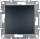 Schneider Electric Выключатель двухклавишный Schneider Asfora Plus антрацит (EPH0300171)