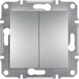 Выключатель двухклавишный Schneider Asfora Plus алюминий (EPH0300161)