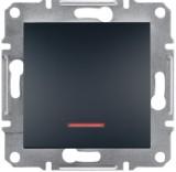 Schneider Electric Выключатель одноклавишный с подсветкой Schneider Asfora Plus антрацит (EPH1400171)