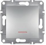 Schneider Electric Выключатель одноклавишный с подсветкой Schneider Asfora Plus алюминий (EPH1400161)