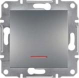 Выключатель кнопочный с подсветкой Schneider Asfora Plus сталь (EPH1600162)