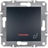 """Schneider Electric Выключатель кнопочный с подсветкой симв. """"Звонок"""" Schneider Asfora Plus антрацит (EPH1700171)"""