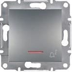 """Schneider Electric Выключатель кнопочный с подсветкой симв. """"Звонок"""" Schneider Asfora Plus сталь (EPH1700162)"""