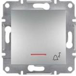 """Schneider Electric Выключатель кнопочный с подсветкой симв. """"Звонок"""" Schneider Asfora Plus алюминий (EPH1700161)"""