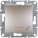 """Schneider Electric Выключатель кнопочный с подсветкой симв. """"Звонок"""" Schneider Asfora Plus бронза (EPH1700169)"""