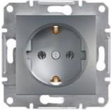 Schneider Electric Розетка с з/к и защитными шторками Schneider Asfora Plus сталь (EPH2900262)