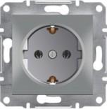 Schneider Electric Розетка с з/к и защитными шторками Schneider Asfora Plus алюминий (EPH2900261)