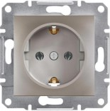 Schneider Electric Розетка с з/к и защитными шторками Schneider Asfora Plus бронза (EPH2900269)