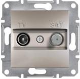 Розетка проходная TV-SAT (4 dB) Schneider Asfora Plus бронза (EPH3400269)