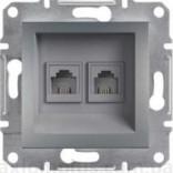 Розетка телефонная двойная RJ11 Schneider Asfora Plus сталь (EPH4200162)