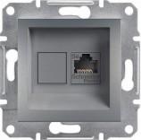 Розетка компьютерная RJ45 UTP 5e Schneider Asfora Plus сталь (EPH4300162)