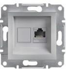 Розетка компьютерная RJ45 UTP 5e Schneider Asfora Plus алюминий (EPH4300161)