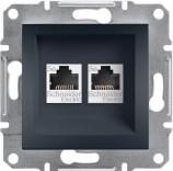 Розетка компьютерная двойная RJ45 UTP 5e Schneider Asfora Plus антрацит (EPH4400171)