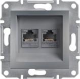 Розетка компьютерная двойная RJ45 UTP 5e Schneider Asfora Plus сталь (EPH4400162)