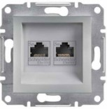 Розетка компьютерная двойная RJ45 UTP 5e Schneider Asfora Plus алюминий (EPH4400161)