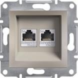 Розетка компьютерная двойная RJ45 UTP 5e Schneider Asfora Plus бронза (EPH4400169)