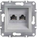 Розетка двойная компьютерная RJ45 UTP 6 Schneider Asfora Plus алюминий (EPH4800161)