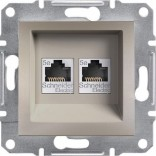 Розетка двойная компьютерная RJ45 UTP 6 Schneider Asfora Plus бронза (EPH4800169)