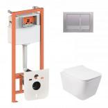 Комплект инсталляция Q-tap 3 в 1 Nest QT0133M425 с панелью смыва QT0111M06029SAT + унитаз Crow QT05335170W