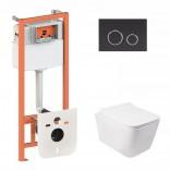 Q-tap Комплект инсталляция Q-tap 3 в 1 Nest QT0133M425 с панелью смыва QT0111M11V1146MB + унитаз Crow QT05335170W
