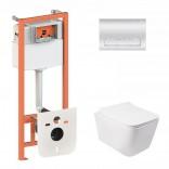 Комплект инсталляция Q-tap 3 в 1 Nest QT0133M425 с панелью смыва QT0111M08381CRM + унитаз Crow QT05335170W