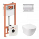 Q-tap Комплект инсталляция Q-tap 3 в 1 Nest QT0133M425 с панелью смыва QT0111M06028CRM + унитаз Jay QT07335176W