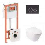 Q-tap Комплект инсталляция Q-tap 3 в 1 Nest QT0133M425 с панелью смыва QT0111M11V1146MB + унитаз Swan QT16335178W