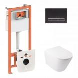 Q-tap Комплект инсталляция Q-tap 3 в 1 Nest QT0133M425 с панелью смыва QT0111M08V1091MB + унитаз Swan QT16335178W