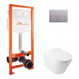 Q-tap Комплект инсталляция Q-tap Nest QTNESTM425M08SAT + унитаз с сиденьем Swan QT16335178W