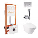 Q-tap Комплект Q-tap инсталляция Nest + унитаз Swan + набор для гигиенического душа Inspai-Varius M425M11CRMQT16335178WIVCRM501