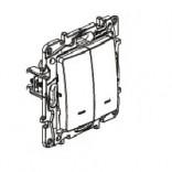 Переключатель 2-клав с подсветкой и автоматическими клеммами Legrand Etika 672216 белый